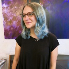 balayge highlights covere in denim blue hair color. For Seagull Salon NYC
