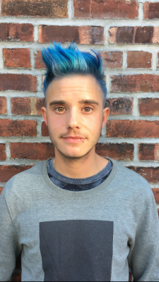 Blue hair highlights color cute boy nyc salon