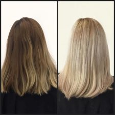 double process before and after hair color salon nyc