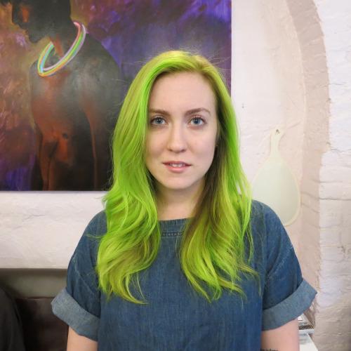 Vibrant Green Hair Seagull Salon West Village Manhattan 10014