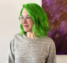 green hair long bob wavy hair salon nyc downtown 10014