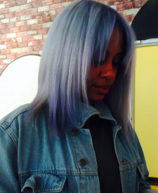 Denim blue hair ombre silver salon downtown nyc