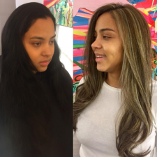 before after balayage brunette hair color salon downtown nyc